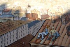Street graffiti mural in Vyborg, Russia Stock Image