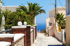 The street on the greek island Santorini Royalty Free Stock Photo