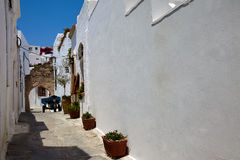 Street in greek town, Lindos city, Rhodos island, Greece Stock Photos