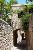 Street in greek town, Rhodes, Greece stock images
