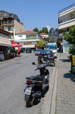 Street in the Greek village of Kalambaka Stock Photography