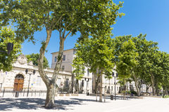 Street with green trees in  Nimes, France. Typical street with green trees in  Nimes, France Royalty Free Stock Images