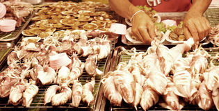 Street grilled seafood stall in Thailand Stock Images