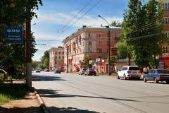 Street Gromoboya in Ivanovo, Russia. IVANOVO, RUSSIA - MAY 19. Gromoboya Street in downtown Ivanovo, architecture Stalin Empire style. May 19, 2013. Ivanovo Stock Photography