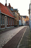Street in Groningen city at sunrise Royalty Free Stock Images