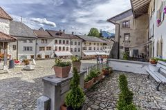 Street in Gruyeres village, Fribourg, Switzerland Royalty Free Stock Photos