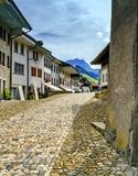 Street in Gruyeres village, Fribourg, Switzerland Stock Photography
