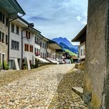 Street in Gruyeres village, Fribourg, Switzerland Royalty Free Stock Images