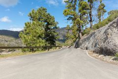 Street at mountain landscape in Gran Canaria. Street with guardrail at mountain landscape in Gran Canaria Royalty Free Stock Photography