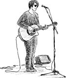 Street guitarist. Vector drawing of an young street musician royalty free illustration