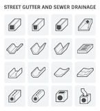 Street gutter icon. Vector icon of street gutter or road gutter and sewer drainage Stock Image