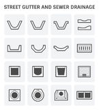 Street gutter icon. Vector icon of street gutter or road gutter and sewer drainage Stock Photography