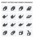 Street gutter icon. Vector icon of street gutter or road gutter and sewer drainage Stock Photo