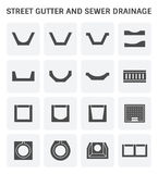 Street gutter icon. Vector icon of street gutter or road gutter and sewer drainage Royalty Free Stock Image