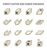 Street gutter icon. Vector icon of street gutter or road gutter and sewer drainage Royalty Free Stock Photography