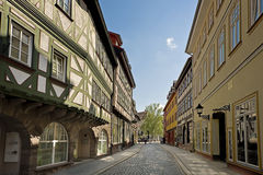 Street with half timbered houses. Old street with traditional half-timbered houses in Nordhausen, Germany Royalty Free Stock Photo