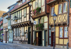 The street with half-timbered houses in Quedlinburg, Germany Stock Images