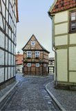 The street with half-timbered houses in Quedlinburg, Germany Royalty Free Stock Photos