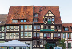 The street with half-timbered houses in Quedlinburg, Germany Stock Image
