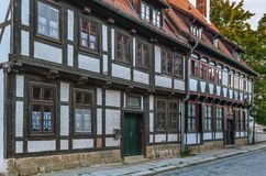 The street with half-timbered houses in Quedlinburg, Germany Royalty Free Stock Images