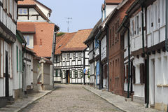 Street with half-timbered houses in Tangermuende. A number of half-timbered houses of the 17th century are preserved in the small German town Tangermuende. Many Royalty Free Stock Image