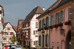 Street with half-timbered medieval houses in Eguisheim Royalty Free Stock Photography