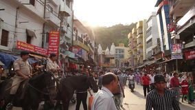 Street in Haridwar stock footage