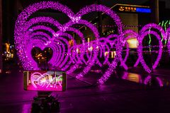 Street heart-shaped colored lights Royalty Free Stock Photos