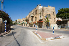 Street in Hebron. HEBRON, ISRAEL - 10 OCT,  2014: Deserted street in the jewish quarter near the center of Hebron Stock Photos
