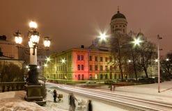 Street in Helsinki, Finland. Street in the evening during the wintertime in Helsinki, Finland Stock Photos