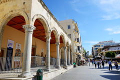 The street in Herakllion city and tourists Stock Photo
