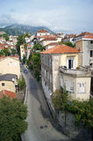 Street in Herceg Novi. Top view of a street in the town of Herceg Novi (Montenegro Royalty Free Stock Photo