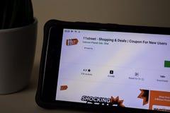 11street het winkelen & Overeenkomsten dev toepassing op Smartphone-het scherm Coupon voor nieuwe Gebruiker royalty-vrije stock afbeelding