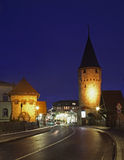 Street and Hexenturm tower in Bad Homburg. Germany.  Royalty Free Stock Photo