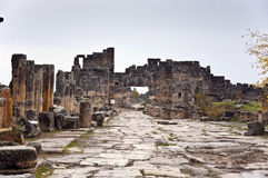 Street of Hierapolis. The street of ancient Hierapolis at cloudy autumn day Stock Photos