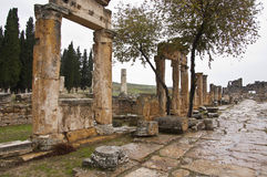 Street of Hierapolis. The streeto of ancient Hierapolis at cloudy autumn day Stock Photos