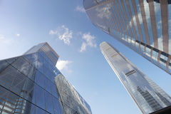 Street of highrise glass skyscraper buildings low angle Royalty Free Stock Photo