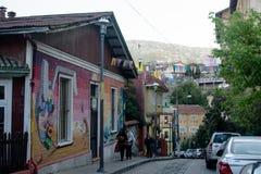 Street in hills of Valparaiso stock image