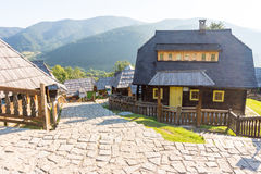 The street on the hillside in Kusturica Drvengrad, Serbia stock photography