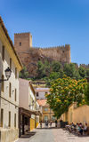 Street and hilltop castle of Almansa Royalty Free Stock Photography