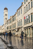 Street in historic balkan old town of dubrovnik croatia Royalty Free Stock Images