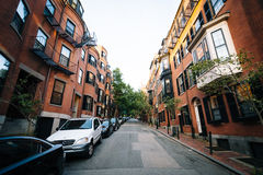 Street and historic brick buildings in Beacon Hill, Boston, Mass Royalty Free Stock Photo