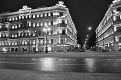 Street with historic building with lighting Stock Images
