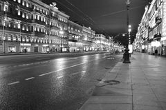 Street with historic building with lighting Royalty Free Stock Images