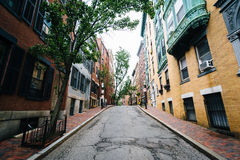 Street and historic buildings in Beacon Hill, Boston, Massachuse Stock Photos