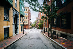 Street and historic buildings in Beacon Hill, Boston, Massachuse Royalty Free Stock Images