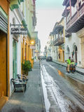 Street of Historic Center of Cartagena Stock Photo