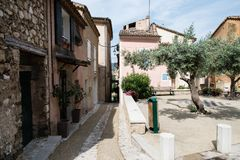 Street in the historic center of Moustiers Sainte-Marie in Prove. Nce, France Royalty Free Stock Images
