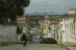 Street of the historic center of olinda stock photography