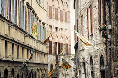 Street in the historic center of Siena, Italy Royalty Free Stock Image